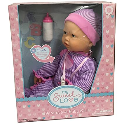 e066236afa3 Interactive Baby Doll - Makes Breathing Sounds, Sucks on Her Bottle or  Pacifier, Her