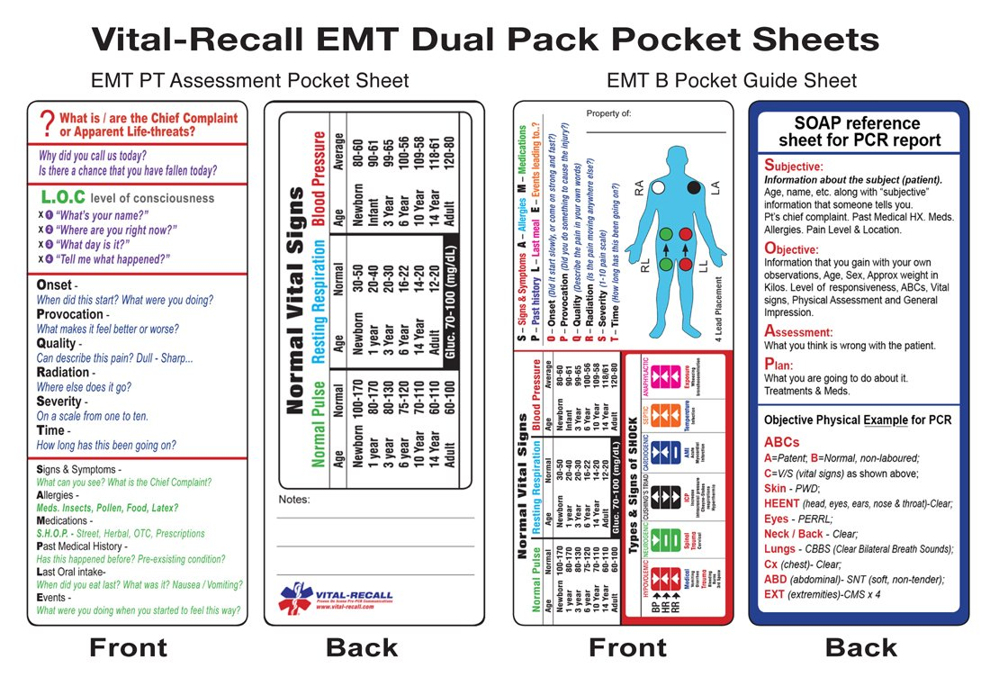 Amazon.com : Vital-Recall EMT Dual Pocket Guide (2 Separate Cards) : Office  Products