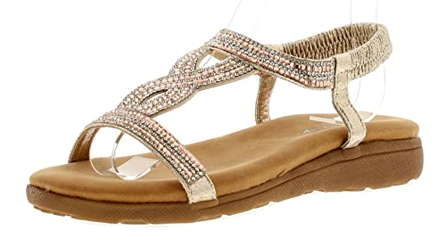 official site beauty clearance sale Dunlop Cynthis Womens Synthetic Material Flats Sandals Rose Gold ...