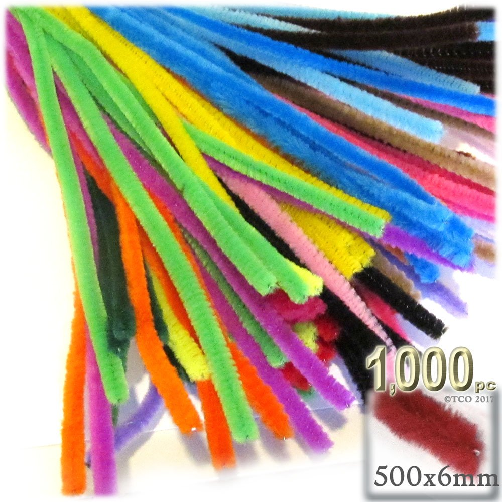 The Crafts Outlet Chenille Stems, Pipe Cleaner, 20-inch (50-cm), 1000-pc, Mixed Pack