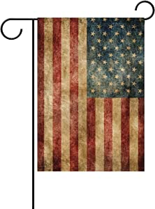 ALAZA Duble Sided Celebrate July 4th America Patriotic Retro Star Stripe Free Memorial Day Polyester Garden Flag Banner 12 x 18 Inch for Outdoor Home Garden Flower Pot Decor