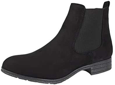 Womens Faux Leather Suede Boots Twin Gusset Black UK 3