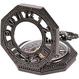 SIBOSUN 八角形 カバー 懐中時計 手巻き 機械式 男性 アンティーク チェーン スケルトン