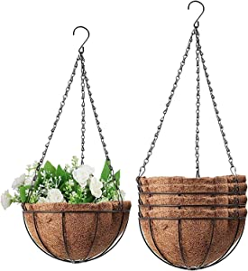 Wizdar 5PCS Metal Hanging Planters Basket with Coco Coir Liner 12 Inch Round Wire Plant Holder Porch Decor Flower Pot Hanger Garden Decor Watering Hanging Baskets