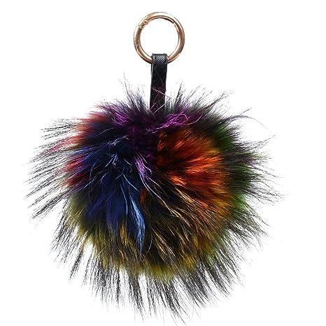 Amazon.com: Llavero grande en forma de bola pompón de ...