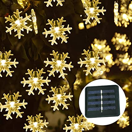 Windpnn 50LED Solar Snowflake String Lights, Warm White Waterproof Christmas Lights for Amazon.com :