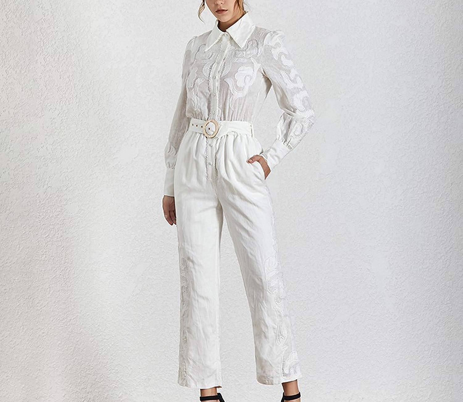 NorthEsther Print Solid Perspective Women Jumpsuit Lapel Long Sleeve High Waist Slim with Sashes Fashion Clothes Spring