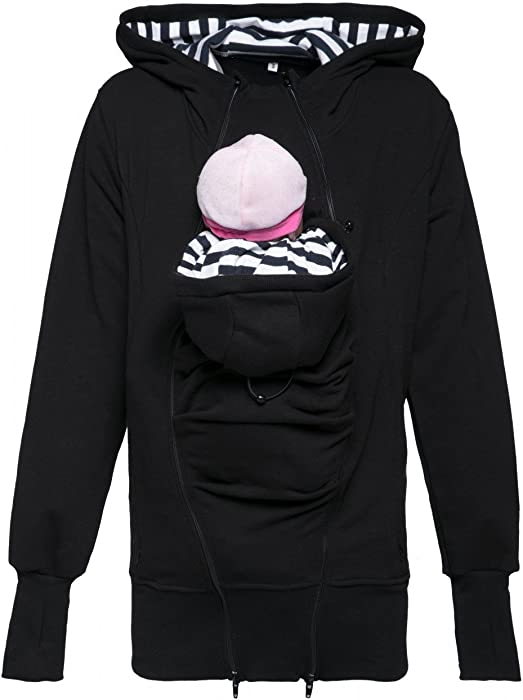 640ebd1a342 Happy Mama. Women s Maternity Sweatshirt Hoodie Carrier Removable Insert.  430p (Black