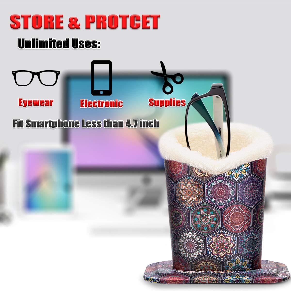 xhorizon Plush Lined Eyeglasses Holder Stand Case Protective Glasses Case for Desks