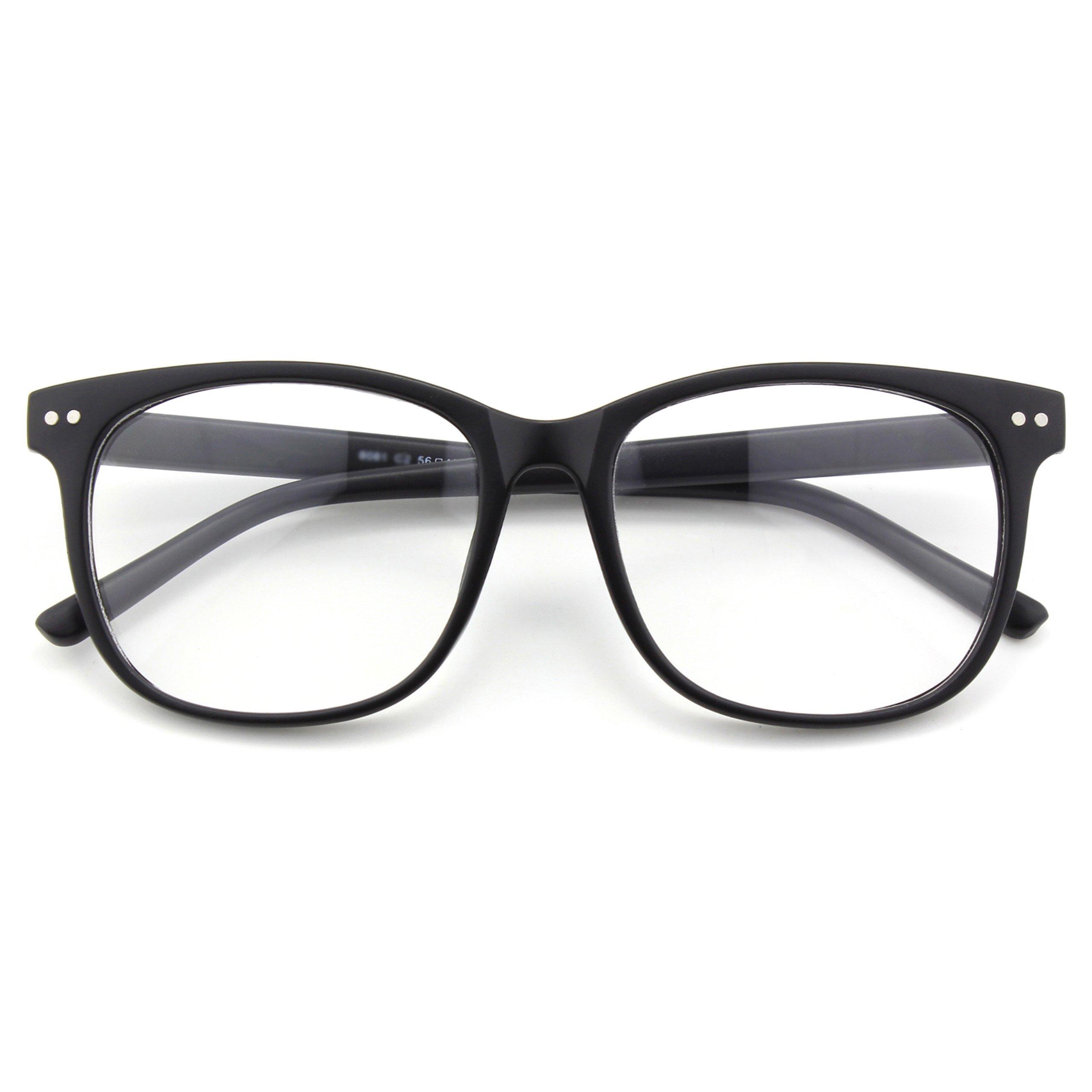 Happy Store CN81 Large Oversized Bold Frame UV 400 Clear Lens Horn Rimmed Glasses