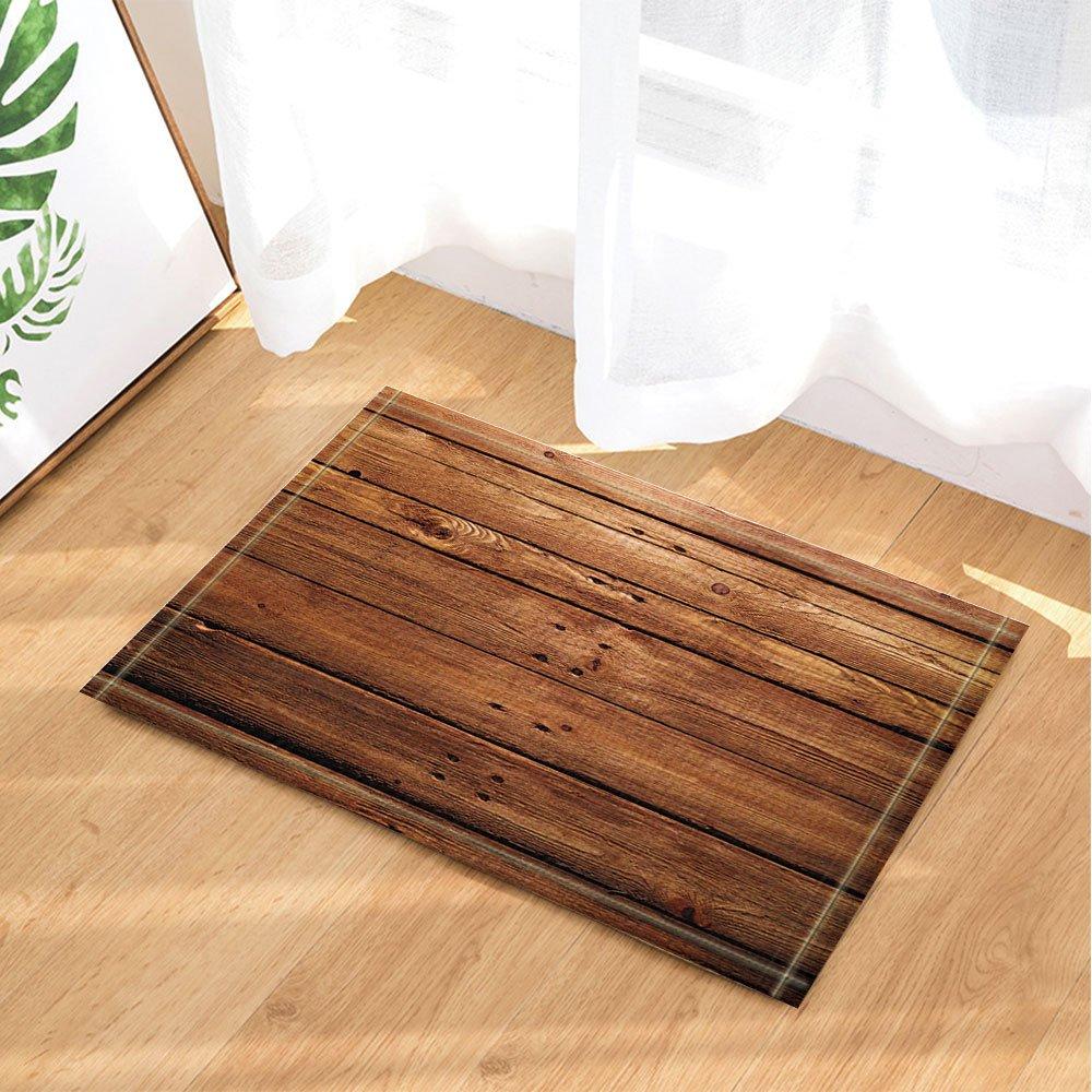 KOTOM Rustic Wooden Decor, Brown Wood Texture with Natural Patterns Bath Rugs, Non-Slip Doormat Floor Entryways Indoor Front Door Mat, Kids Bath Mat, 15.7x23.6in, Bathroom Accessories by KOTOM (Image #1)