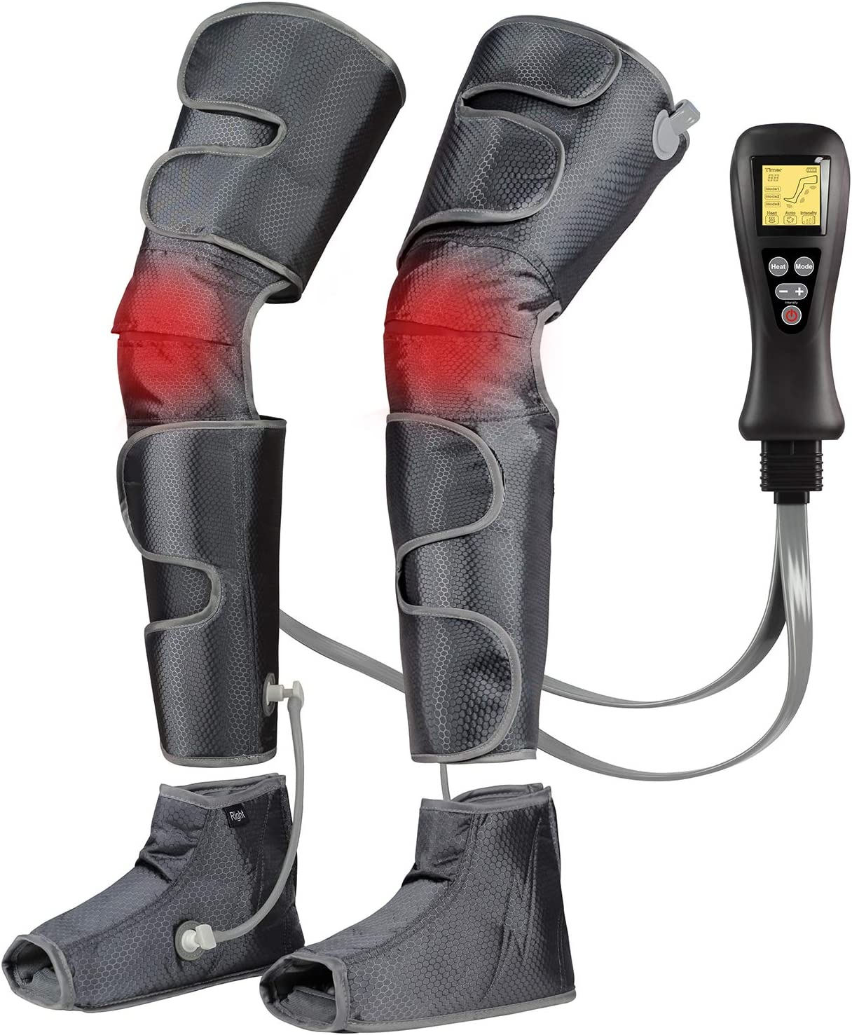 Leg-Massager for Circulation with Heat, Compression Calf Thigh Foot Massage, Muscle Pain Relief Sequential Boots Device with Handheld Controller with 4 Modes 4 Intensities