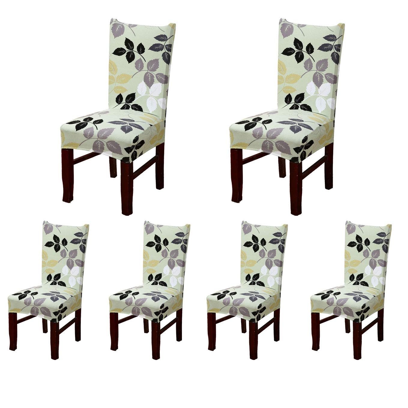 Soulfeel 6 x Soft Spandex Fit Stretch Short Dining Room Chair Covers with Printed Pattern, Banquet Chair Seat Protector Slipcover for Home Party Hotel Wedding Ceremony (Style 1) product image
