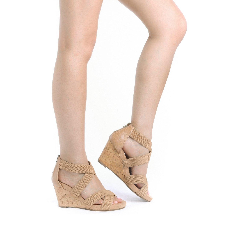 TOETOS Women's Solsoft_15 White Low Platform Wedges Back Zipper Sandals Size 8.5 B(M) US by TOETOS (Image #5)