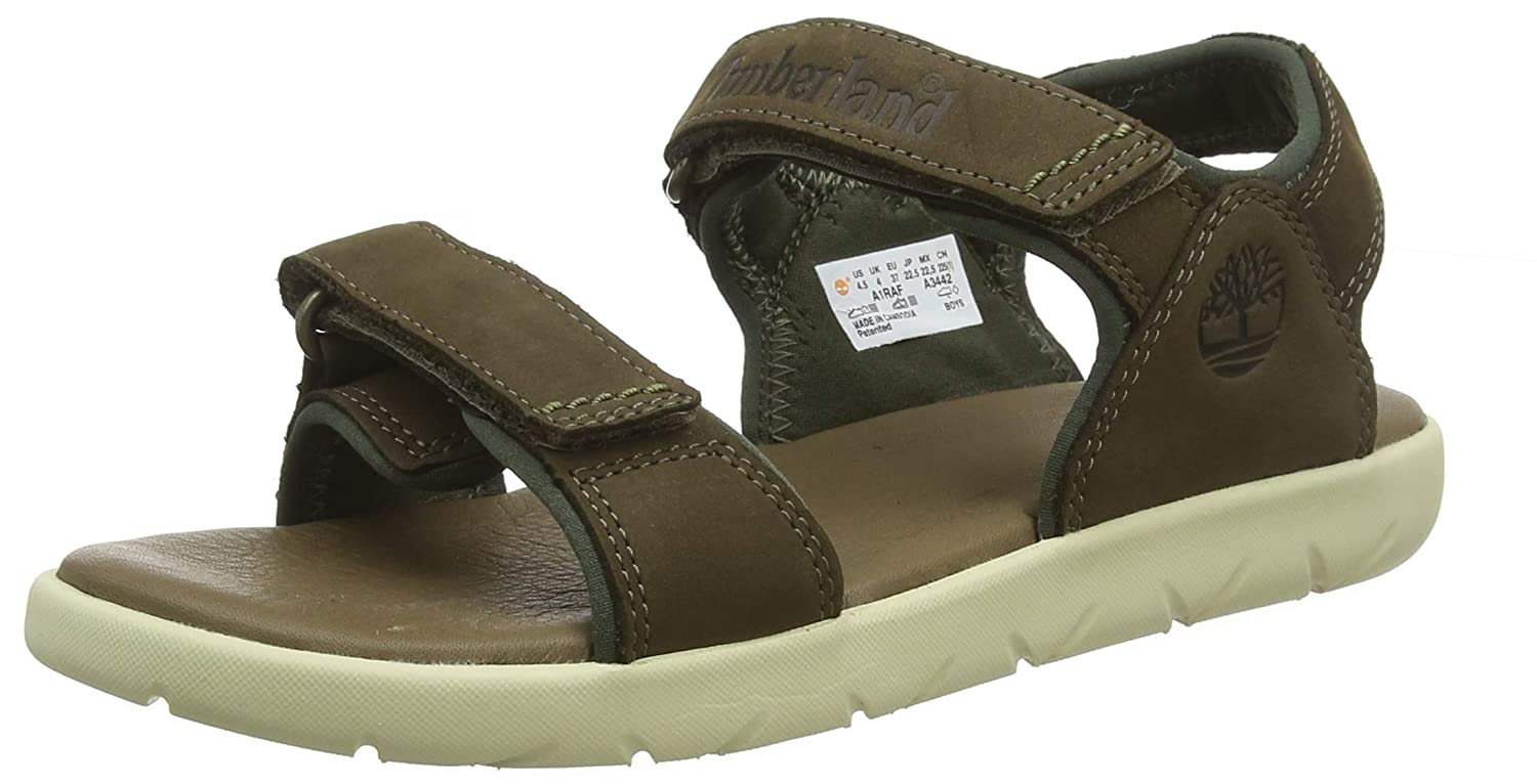 4b868054ab7 Timberland Unisex Kids' Nubble Leather 2 Strap Open Toe Sandals ...