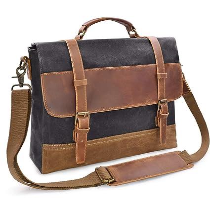 Mens Messenger Bag 15.6 Inch Waterproof Vintage Genuine Leather Waxed  Canvas Briefcase Large Satchel Shoulder Bag 70765d174dd14