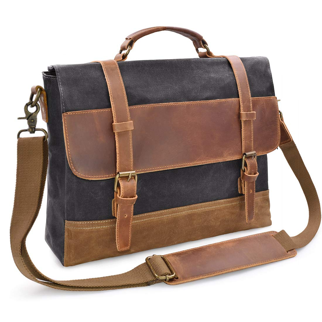 Mens Messenger Bag 15.6 inch Waterproof Vintage Genuine Leather Waxed Canvas Briefcase Large Satchel Shoulder Bag Rugged Leather Computer Laptop Bag Grey