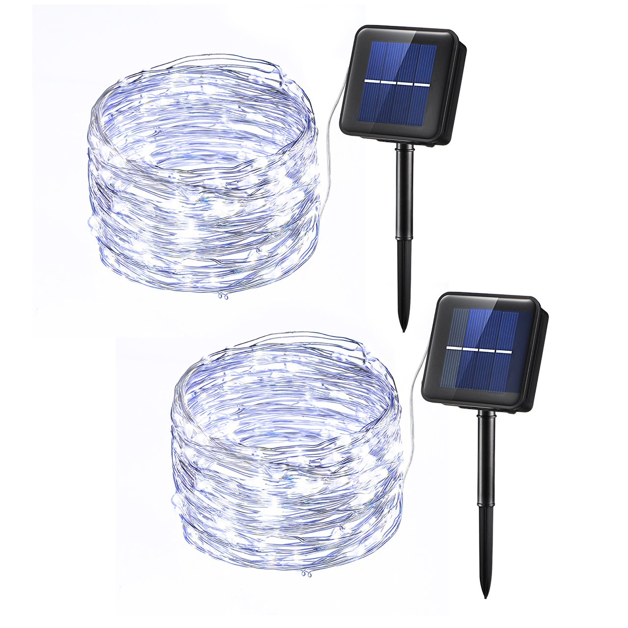 Mpow Solar String Lights, 33ft 100LED Outdoor String Lights, Waterproof Decorative String Lights for Patio, Garden, Gate, Yard, Party, Wedding (Cool White)