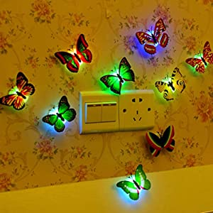 JCAsla 6PCS Cute Butterfly Lights Color Changing LED Night Light Home Room Desk Wall Decor 7 Colorful Changing Night Light 3D Butterfly Sticker Wall Light for Home Party Decor Gift