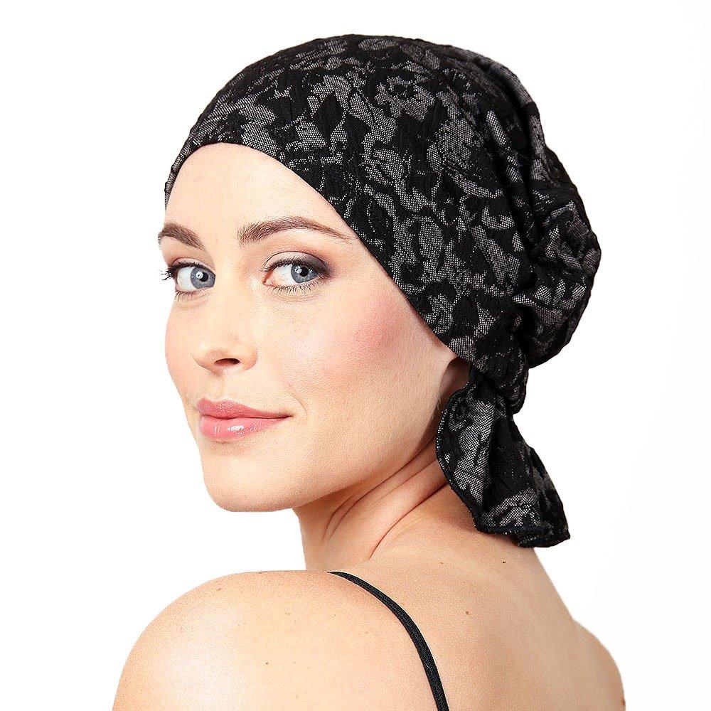 Chemo Beanies (Black Floral Jacquard)
