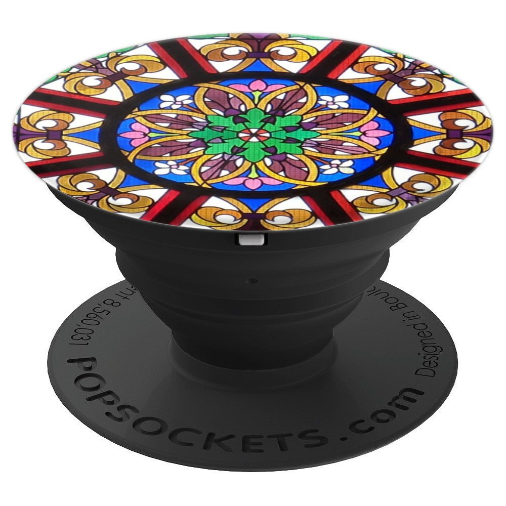 Colorful Stained Glass Kaleidoscope Look - PopSockets Grip and Stand for Phones and Tablets