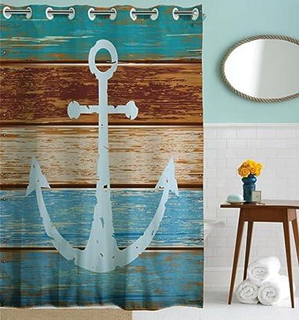 Amazon.com: Goodbath Hookless Shower Curtain, Nautical Anchor Rustic ...