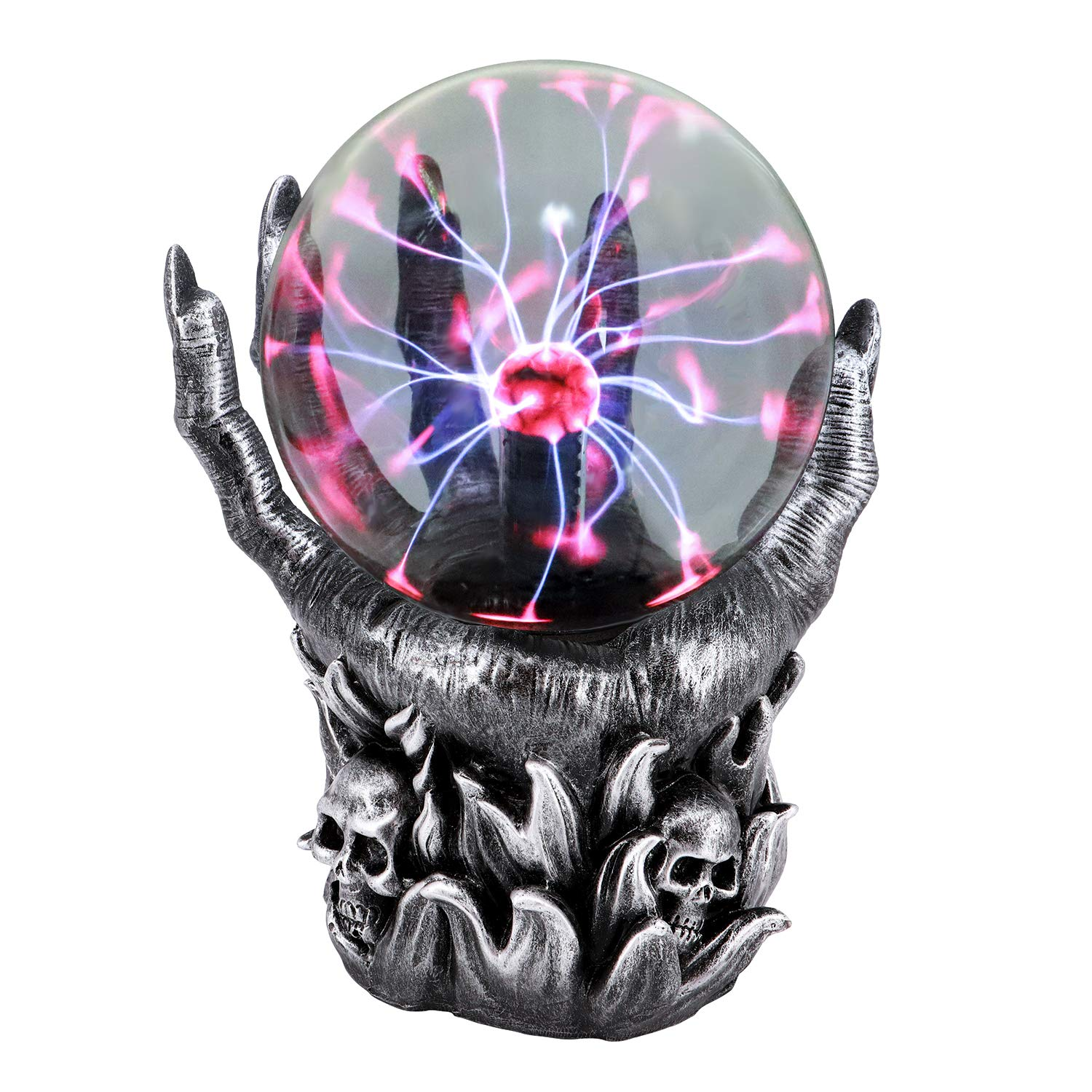 QTKJ Resin Plasma Ball, 2 Small Skulls Head Claw Touch Sensitive Electric Globe Static Light for Home and Party, Holiday Decorations Gifts