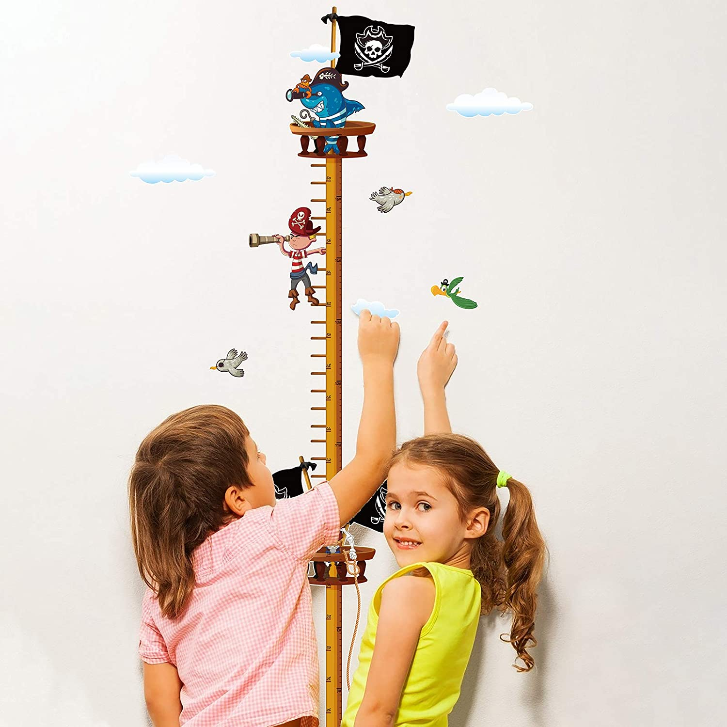 AirSMall Pirate Ruler Wall Decal Nursery Wall Stickers Body Height Measure Children Wall Stickers Childrens Ruler as First Apartment Gift Wall Sticker Pirate Wall Decoration
