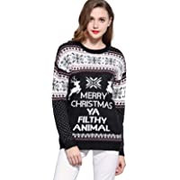 v28 Women's Christmas Reindeer Snowflakes Sweater Pullover