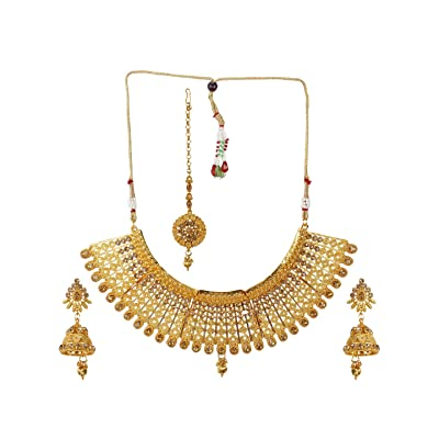 Yellow Crystal Stone Beads Necklace with Stud Earring For Women and Girl stylish Traditional Beaded Necklace Set Yellow Mala Fashion