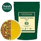 VAHDAM, Turmeric Saffron Herbal Tea,200g (100 Cups) - Blend of Turmeric, Cardamom, Pistachios, Almonds, Coconut & Saffron Tea - Ancient Indian Herbal Tea Recipe - Turmeric Tea, Decaf Tea