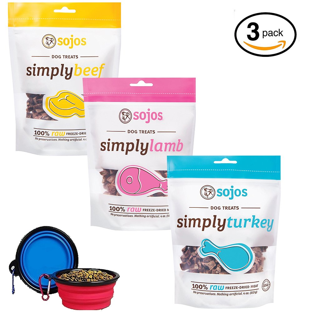 SOJOS Freeze-Dried Meat Treats For Dogs 3 Pack Simply Variety Bundle (1) Beef Snack Treats (1) Lamb Snack Treats (1) Turkey Snack Treats (12 Oz Total) W/YHS Pets Bowl - 100% Made in USA