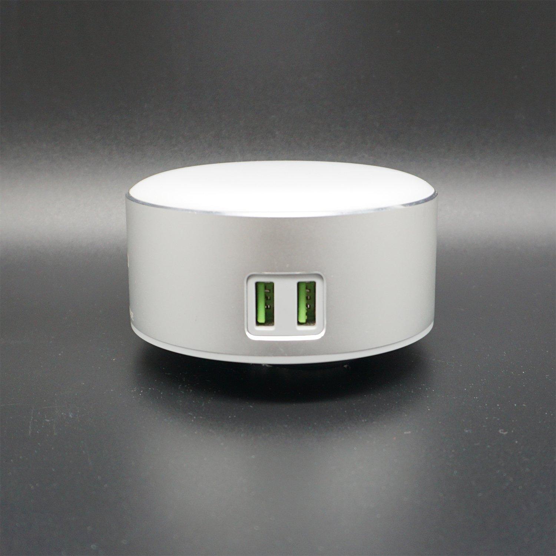 Nachttisch-Leuchte fü r Schlafzimmer, 3 Helligkeitsstufen, berü hrungsempfindliche Steuerung, zwei integrierte Ladeanschlü sse zum Aufladen von Mobiltelefon-Tablets(Silber,9x9x5cm) Mingwu
