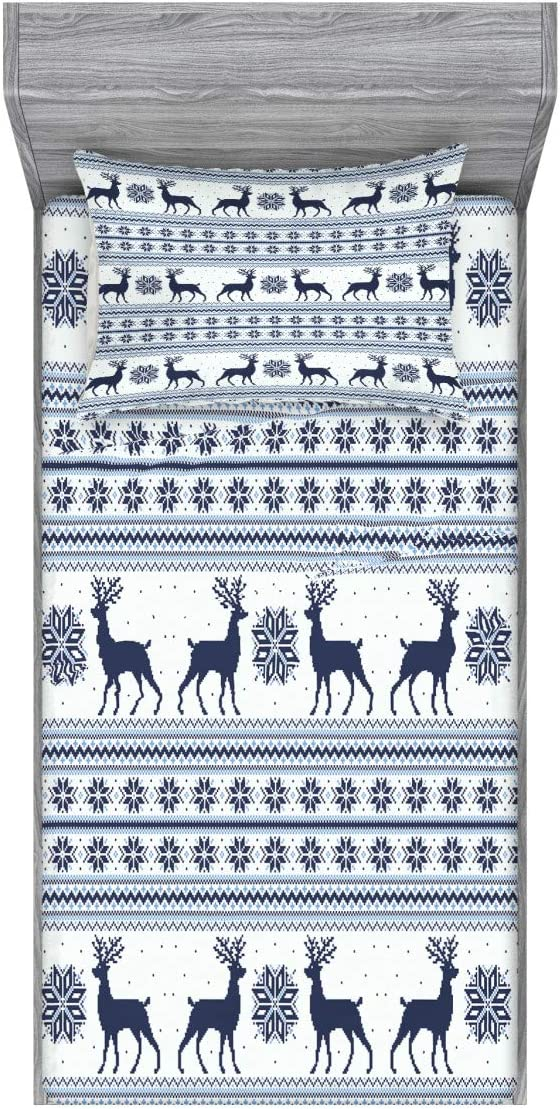 Ambesonne Nordic Fitted Sheet & Pillow Sham Set, Pixel Art Style Christmas Pattern with Reindeer and Snowflake Motifs, Decorative Printed 2 Piece Bedding Decor Set, Twin, Blue Pale