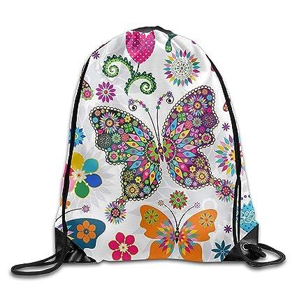 gthytjhv Rainbow Butterfly Unisex Gimnasio Cordón Bolsa de Hombro Mochila Cuerda Bolsas Ligero Único 16.9 x
