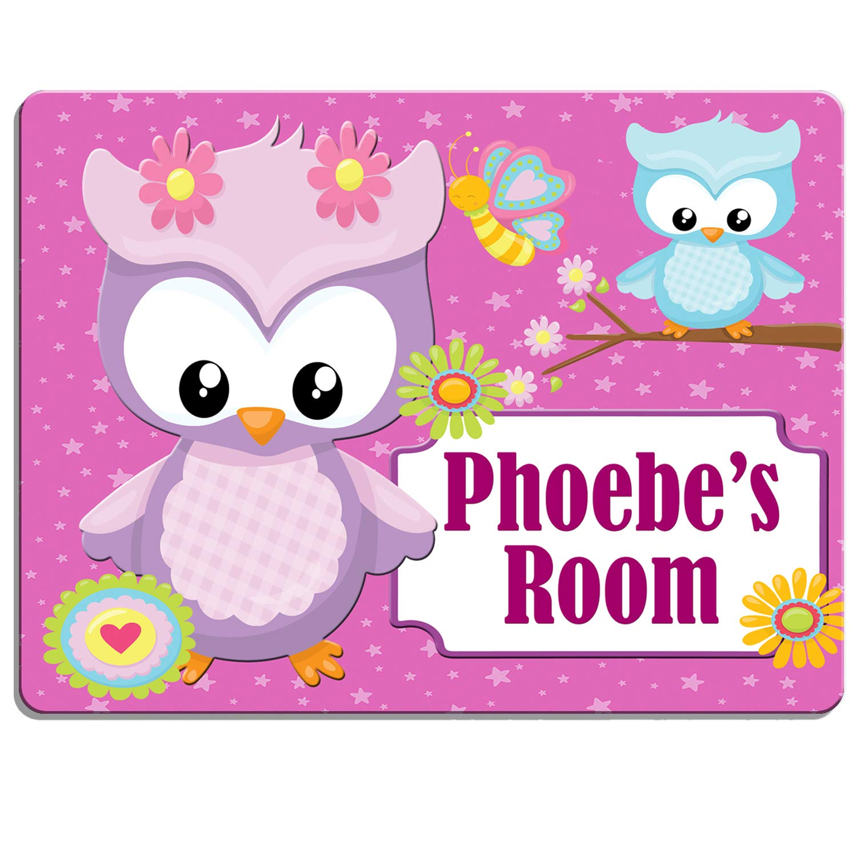 Personalizado Cute Búhos dpe25 placa puerta de dormitorio de ...