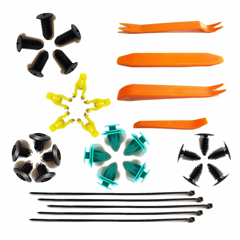 laiyi international Car Radio Clip Panel Dash Audio Plastic Trim Removal Tool Retainer Assortment Clips Fasteners Rivets Plastic Kit Set 4+25+5pcs