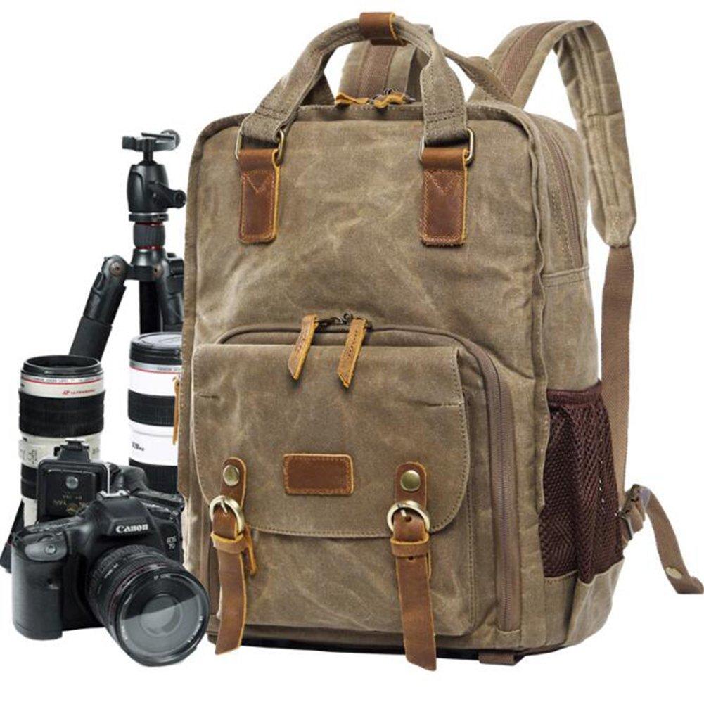 kimsaiバティック防水キャンバスカジュアルショルダーカメラバッグSLRデジタルカメラバッグバックパックバッグ、A   B07FMTZGCS