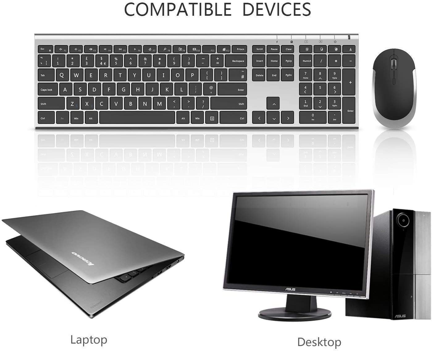 Jelly Comb Wireless Keyboard and Mouse Combo 2.4G Wireless Rechargeable Keyboard QWERTY UK Layout and Mice with USB Receiver for PC//Laptop//Computer White and Silver