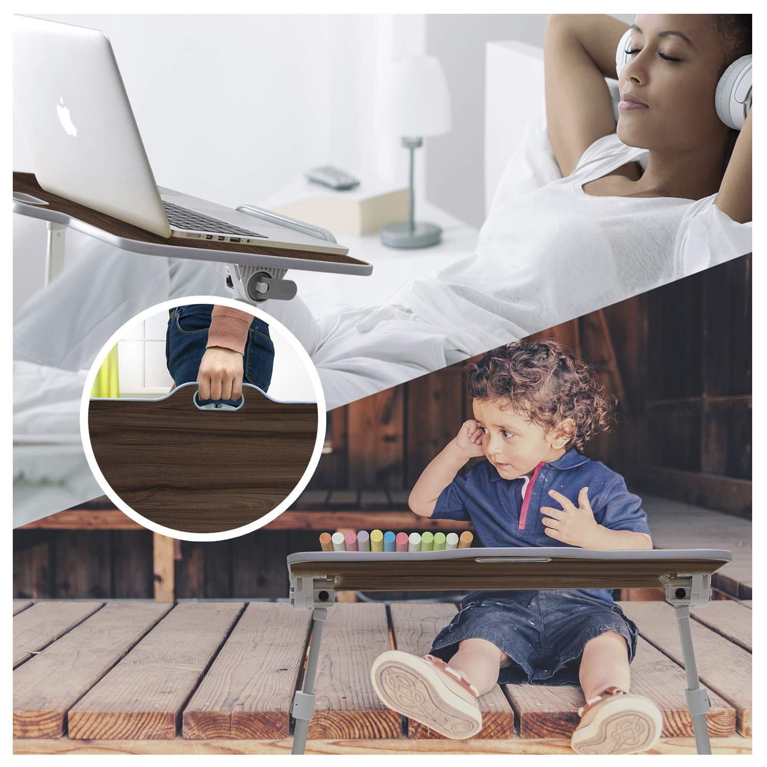 Kavalan Large Size Portable Laptop Table with Handle, Height & Angle Adjustable Sit and Stand Desk, Bed & Breakfast Table Tray, Foldable Notebook Stand Holder for Sofa Couch - Black Teak by Kavalan (Image #8)