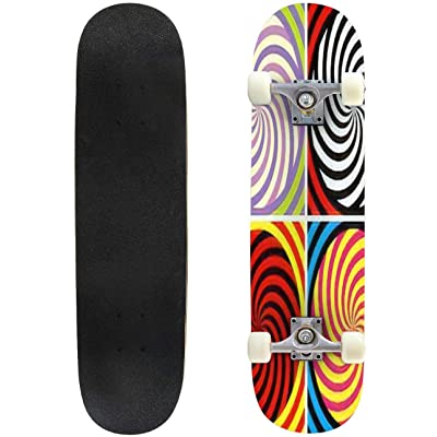 Classic Concave Skateboard Set of Four Bright Hypnotic Poster Longboard Maple Deck Extreme Sports and Outdoors Double Kick Trick for Beginners and Professionals : Sports & Outdoors