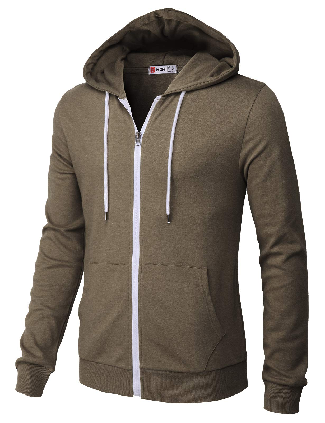 H2H Mens Casual Zip up Hoodie Basic Long Sleeve Zip up HEATHERBROWN US 2XL/Asia 3XL (CMOHOL048) by H2H (Image #2)