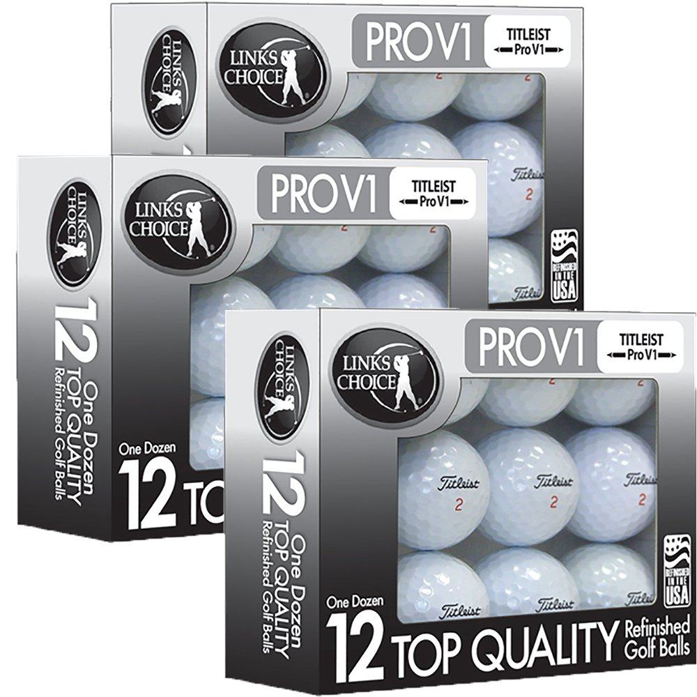 Links Choice LLC 36 Titleist ProV1 AAAAA Mint Refinished Used Golf Balls Black Foil Pack