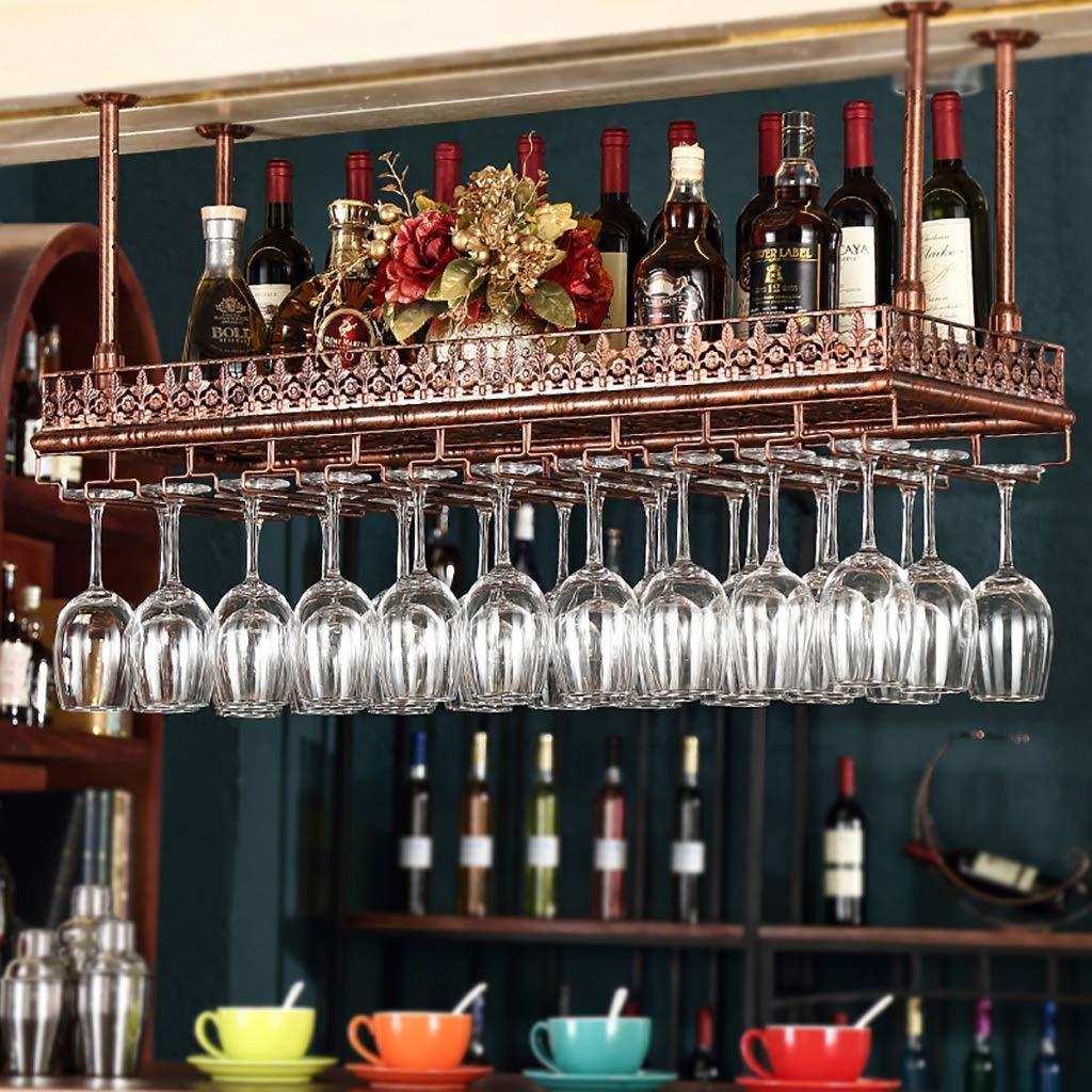 中空彫刻鉄吊りワイングラスラック/ワインラック天井装飾棚バー/ハンギングガラスホルダーワインセット (色 : ブロンズ, サイズ さいず : 100*35cm) B07JZ2F2CM ブロンズ 100*35cm