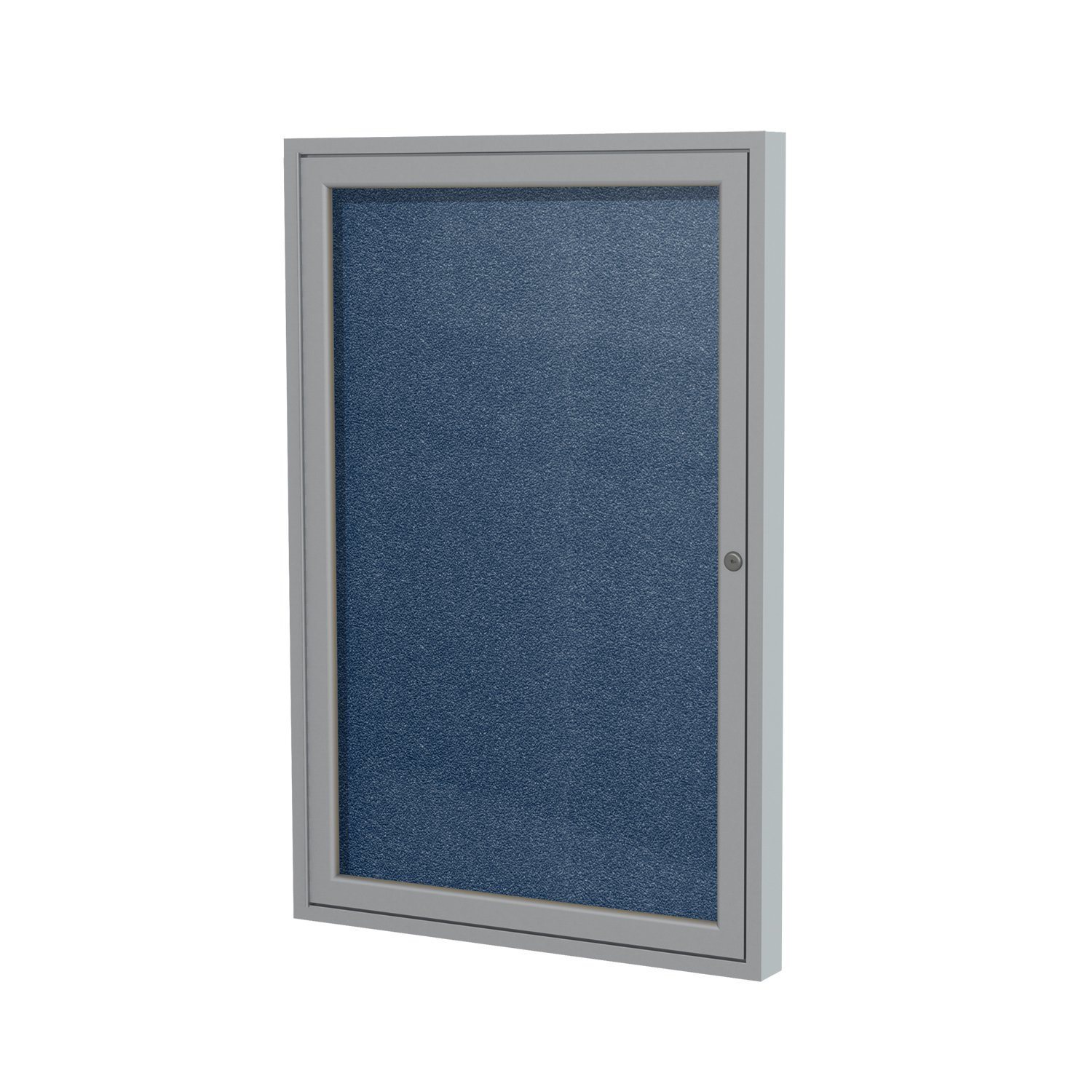 1 Door Outdoor Enclosed Bulletin Board Size: 3' H x 3' W, Frame Finish: Satin, Surface Color: Navy