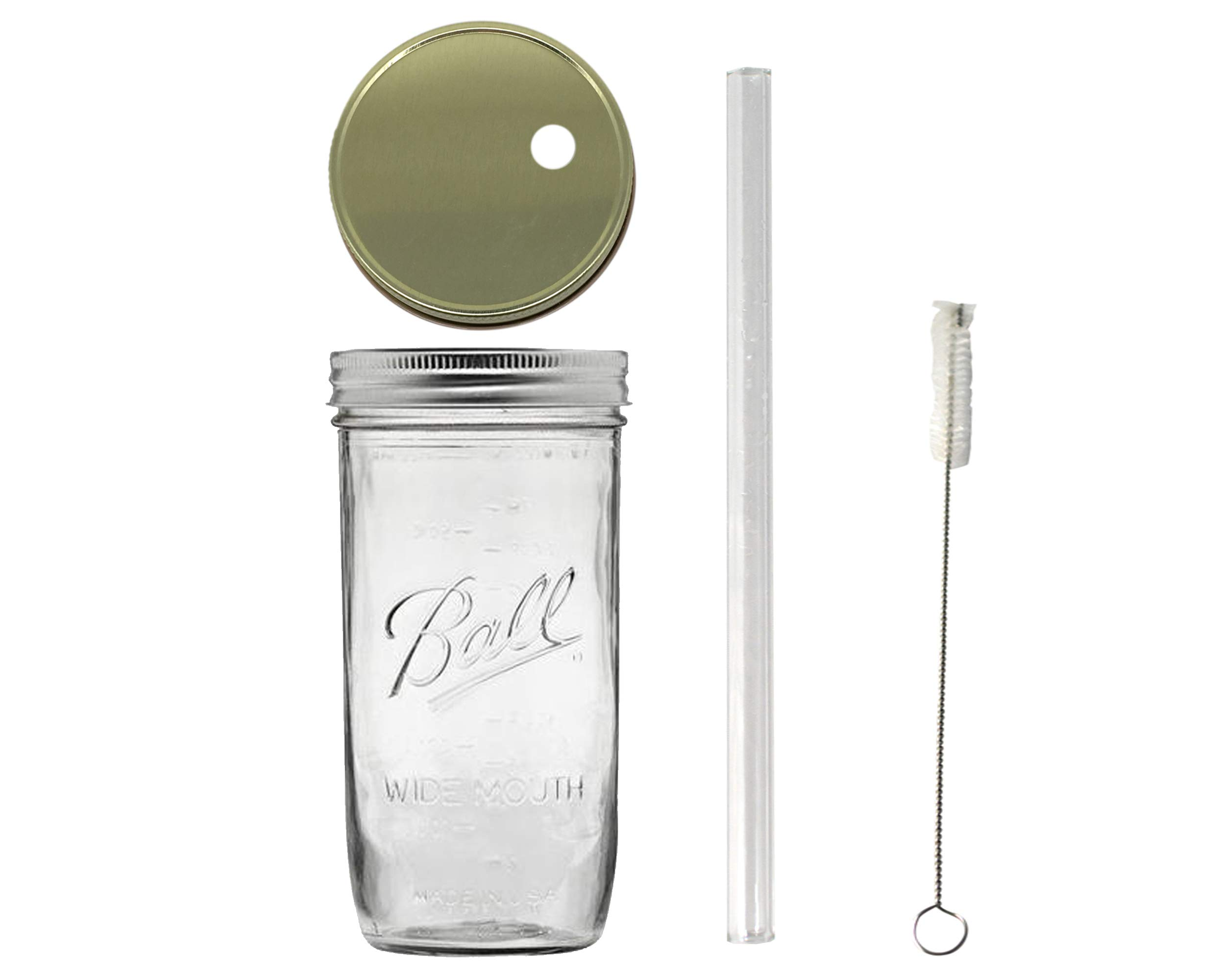 1 Glass Mason Drinking Jar with 1 Gold Lid, 1 Glass Straw and 1 Straw Cleaner (24oz wide mouth, gold) (1)