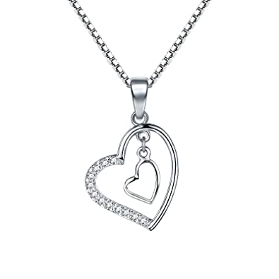 ff10130c1 ... Pendant Necklace, 925 Sterling Silver 5A Cubic Zirconia Necklace Jewellery  for Wife/Girlfriend / Daughter, 18 inches Chain: Amazon.co.uk: Jewellery