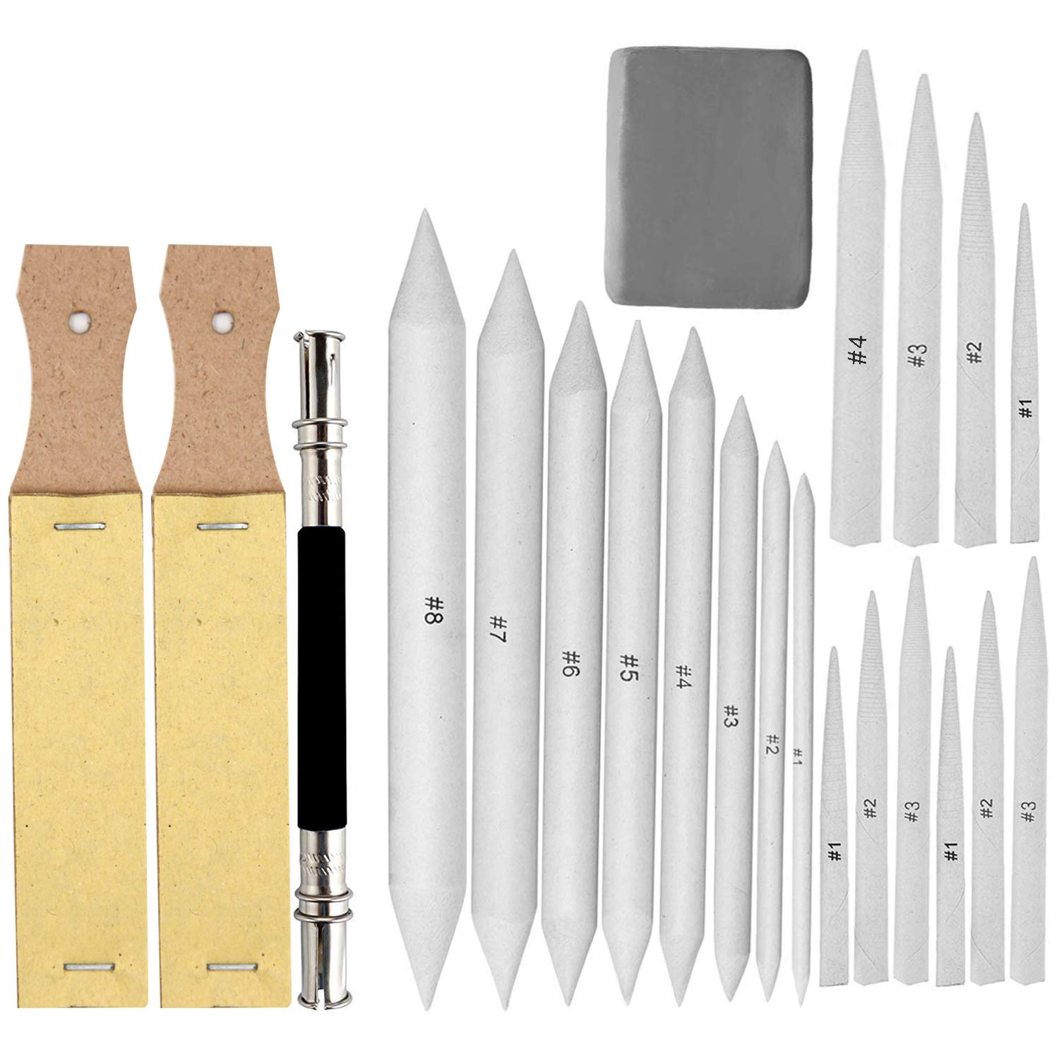 EuTengHao 22 Pieces Blending Stumps and Tortillions Set with 2 Sandpaper Pencil Sharpener, 1 Pencil Extension Tool and 1 Eraser for Student Sketch Drawing Accessories
