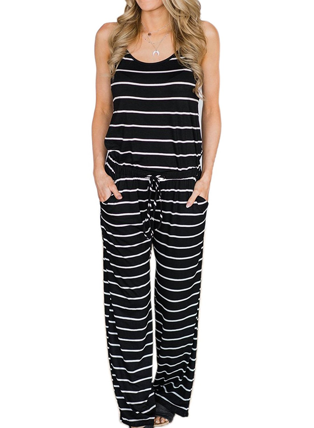 AMiERY Womens Black Jumpsuits Summer Comfy Striped One Piece Jumpsuits Casual Wide Leg Long Pants Loose Sleeveless Jumpsuits Rompers (S, Black Stripes)