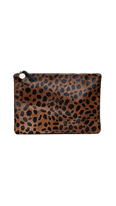 374fe832f Clare V. Women's Leopard Flat Haircalf Clutch, Leopard, One Size ...